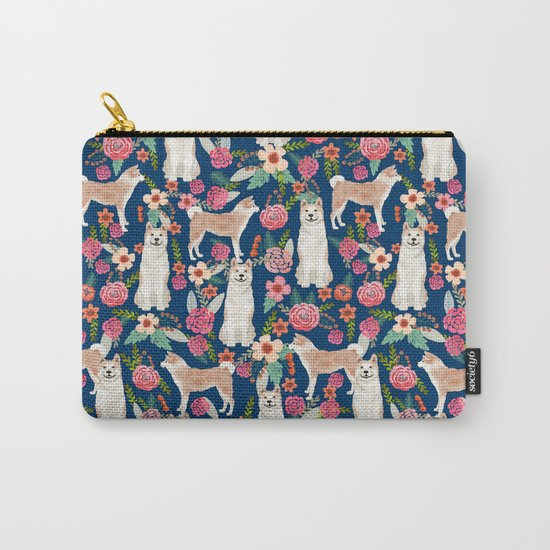 Akita dog pattern florals cute dog portrait pet friendly dog breeds akitas Carry-All Pouch