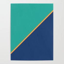 Mint & Dark Blue - oblique Poster