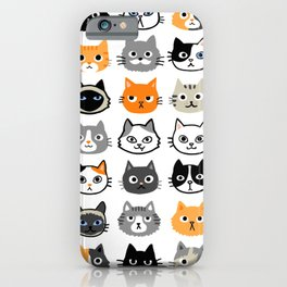 Cute Cats | Assorted Kitty Cat Faces | Fun Feline Drawings iPhone Case