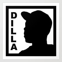 j dilla Art Prints featuring Dilla by thehiphopshop