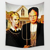 american Wall Tapestries featuring Dwight Schrute & Angela Martin (The Office: American Gothic) by Silvio Ledbetter