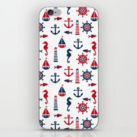 navy iPhone & iPod Skins featuring Navy by Valmo. Surface pattern design by Valeria