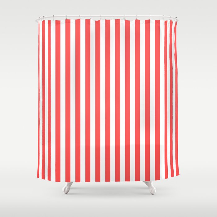 Vertical Stripes Red White Pattern Shower Curtain By Luxelab