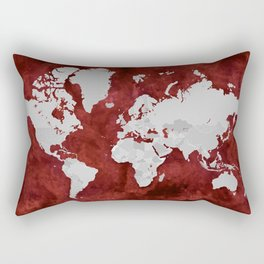 Red watercolor and grey world map with outlined countries Rectangular Pillow