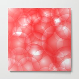 Gentle intersecting red translucent circles in pastel colors with a ruby glow. Metal Print