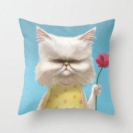 A cat holding a flower Throw Pillow