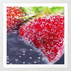 Bubbly Strawberries Art Print