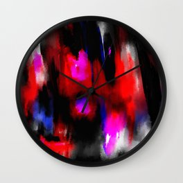 Dark Mood - Original, abstract paint in red, blue, black and white Wall Clock