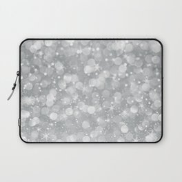 Silver glam bokeh glitter and sparkles Laptop Sleeve