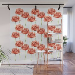 Poppy Flower Watercolor Painting Pattern Wall Mural