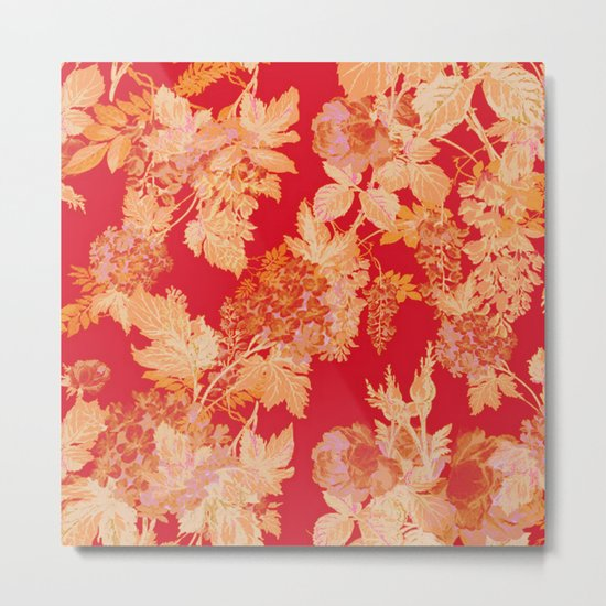 gold and red floral Metal Print
