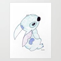lilo and stitch Art Prints featuring stitch from lilo and stitch by Art_By_Sarah