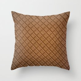Chocolate brown leather lattice pattern - By Brian Vegas Throw Pillow