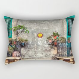 Italy Photography - Italian Balconies Covered In Plants Rectangular Pillow