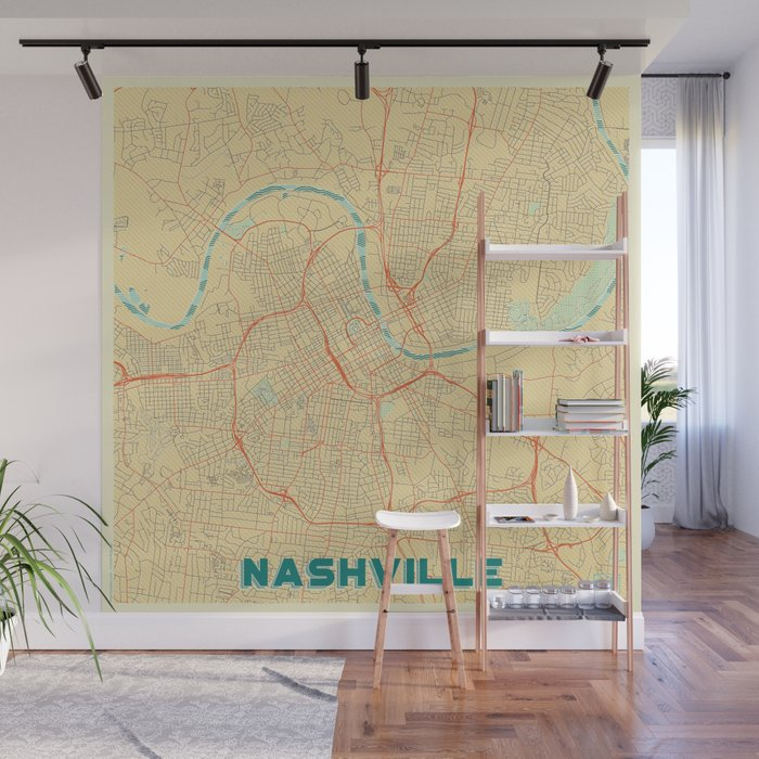 Nashville Map Retro Wall Mural By Hubertroguski Society6