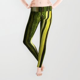 green beige brown yellow abstract striped digital design Leggings
