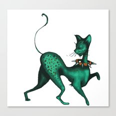 Green Spotted Kitty Canvas Print