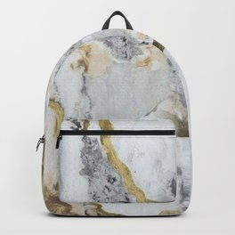 Gold and White Marble Backpack