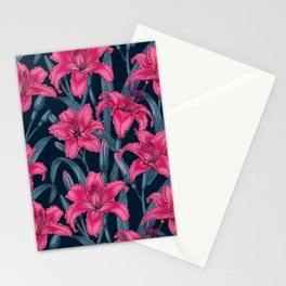 Pink lily flowers Stationery Cards