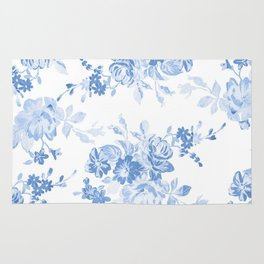 Modern navy blue white watercolor elegant floral Rug