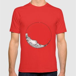 Naked woman in a circle T-shirt