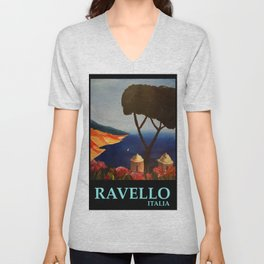 Ravello Salerno Italy View Of Amalfi Coast From Villa Rufolo Unisex V-Neck