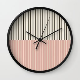 Color Block Lines XIV Vintage Pink Wall Clock