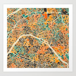 Paris mosaic map #2 Art Print
