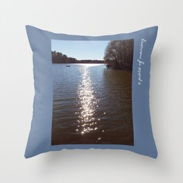 Peaceful Lake | Two People Canoeing On A Glistening Lake | Pictures With Weekend Vibes Throw Pillow