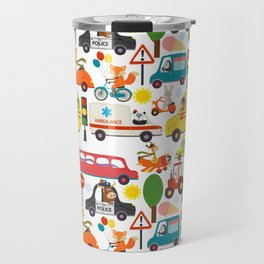 Busy City Zoo Animal Transportation Pattern Travel Mug