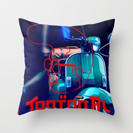 scooter red tonton AL Throw Pillow