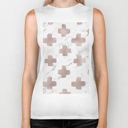 Rose gold marble - scandinavian cross Biker Tank
