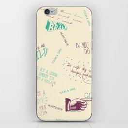 Doodlethrob (Tegan and Sara) creme iPhone Skin
