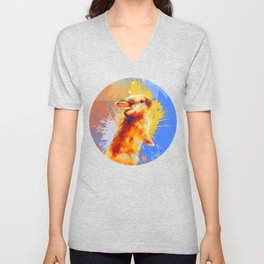 Colors of Fluff - Bunny portrait Unisex V-Neck