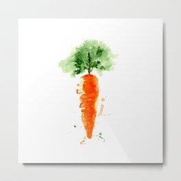 Watercolor orange carrot. Organic vegetable. Original watercolour illustration. Metal Print