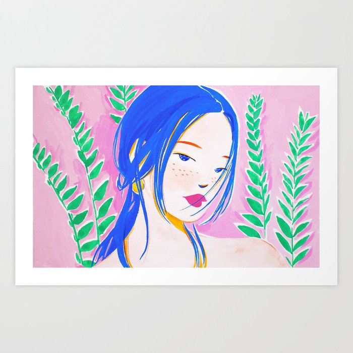 Girl and Aroid Palm Art Print