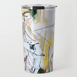 Expressive Musicians Playing Cello Flute Accordion Saxophone drawing Travel Mug