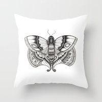moth Throw Pillows featuring MOTH by silb_ck