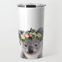 Baby Koala With Flower Crown, Baby Animals Art Print By Synplus Travel Mug