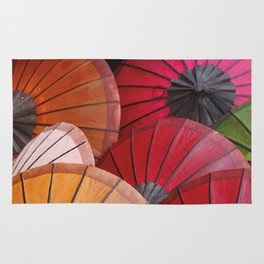 Paper Colored Umbrellas from Laos Rug