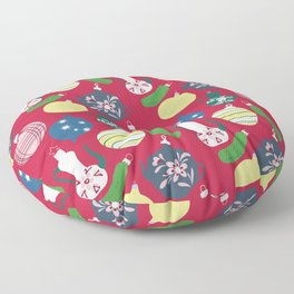 Vintage ornaments- red Floor Pillow