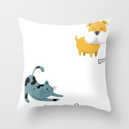 Dogs Have Masters Cats Have Staff Throw Pillow