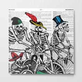 Calavera Cyclists | Skeletons on Bikes | Day of the Dead | Dia de los Muertos | Dictionary Text | Metal Print