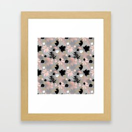 Abstract maple leaves autumn in pink and gray colors Framed Art Print