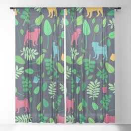 Colorful Pugs with Leaves - Pattern Sheer Curtain