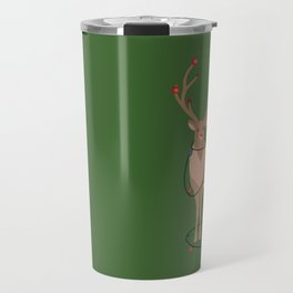 Rudolph Red Nosed Reindeer happy with his Favorite Christmas Lights Travel Mug