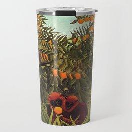 Apes in the Orange Grove by Henri Rousseau 1910 // Colorful Jungle Animal Landscape Scene Travel Mug