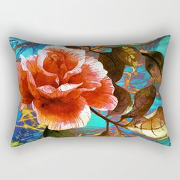 rose on abstract background Rectangular Pillow