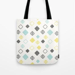 Aqua gray yellow abstract geometrical diamond pattern Tote Bag