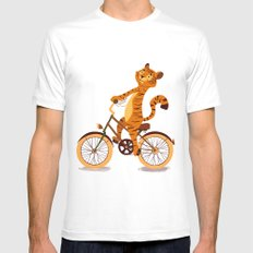 Tiger on the bike White Mens Fitted Tee MEDIUM